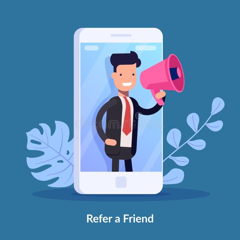 Verweisen Sie ein Freundvektor-Illustrationskonzept Digital-Geschäft Leute schreien auf Megaphon mit, ein Freundwort zu verweisen vektor abbildung