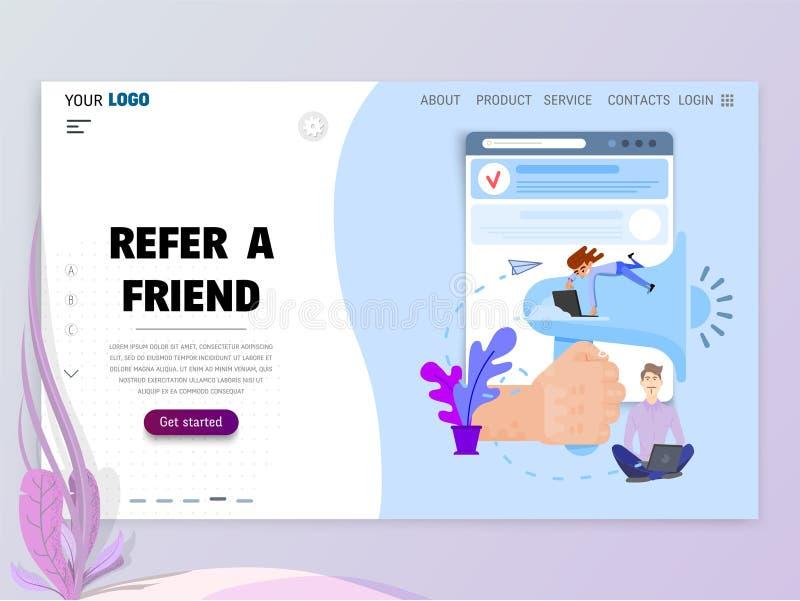 Verweisen Sie eine Freund homepage-Schablone f?r Website oder Landungsseite stock abbildung