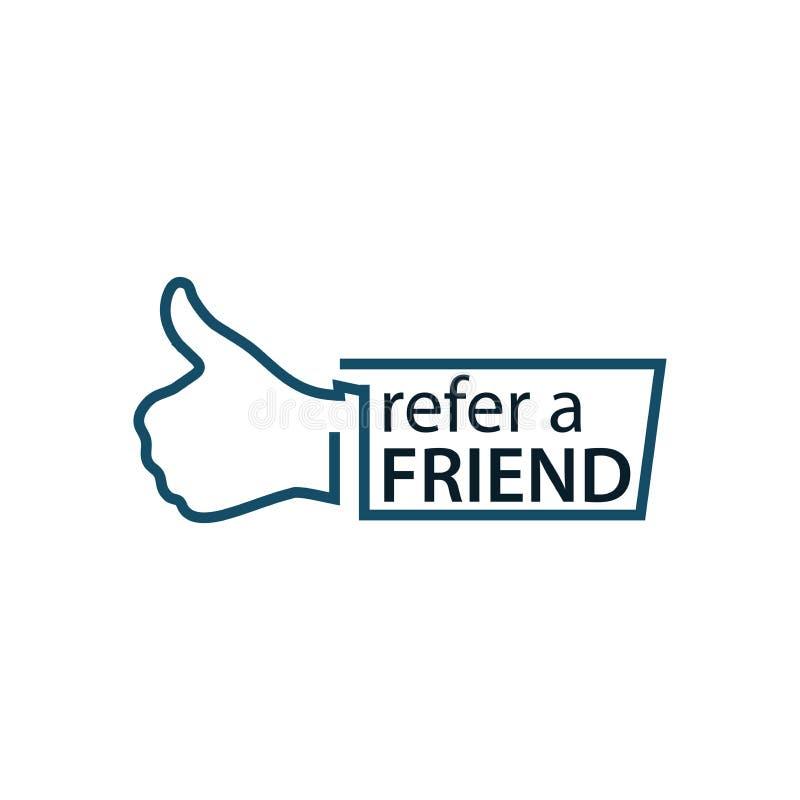 Verweisen Sie einen Freund mit Daumenikone Flache Vektorillustration auf weißem Hintergrund lizenzfreie abbildung