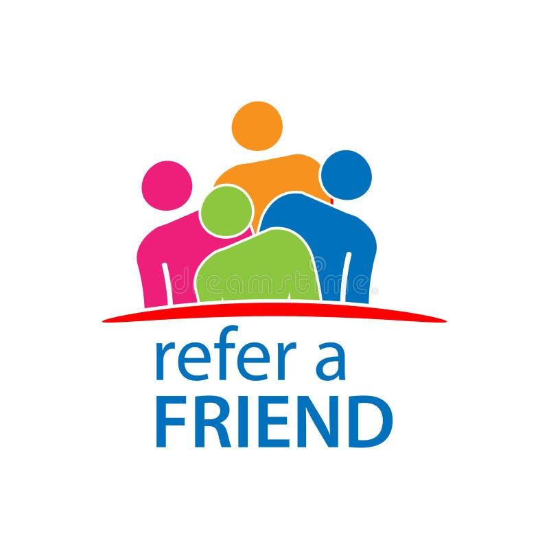 Verweisen Sie einen Freund mit Leuteikone Flache Vektorillustration auf weißem Hintergrund stock abbildung