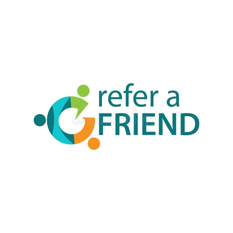 Verweisen Sie einen Freund mit Leuteikone Flache Vektorillustration auf weißem Hintergrund lizenzfreie abbildung