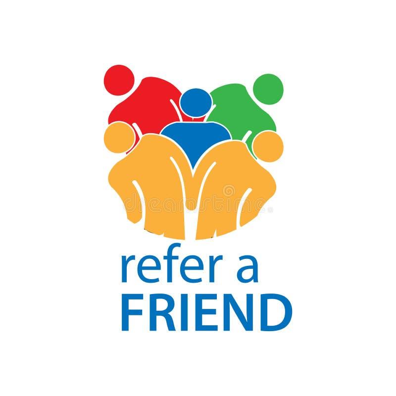 Verweisen Sie einen Freund mit Leuteikone Flache Vektorillustration auf weißem Hintergrund vektor abbildung