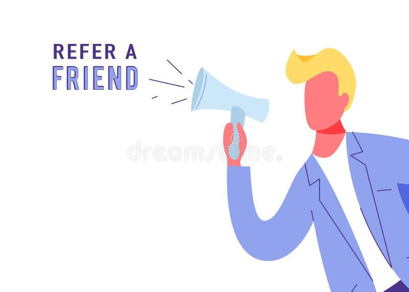 Verweisen Sie einen Freundmarketing-Vektorhintergrund Geschäftsmannruf am Megaphon über Loyalität, Förderung, Geschenke Internet vektor abbildung