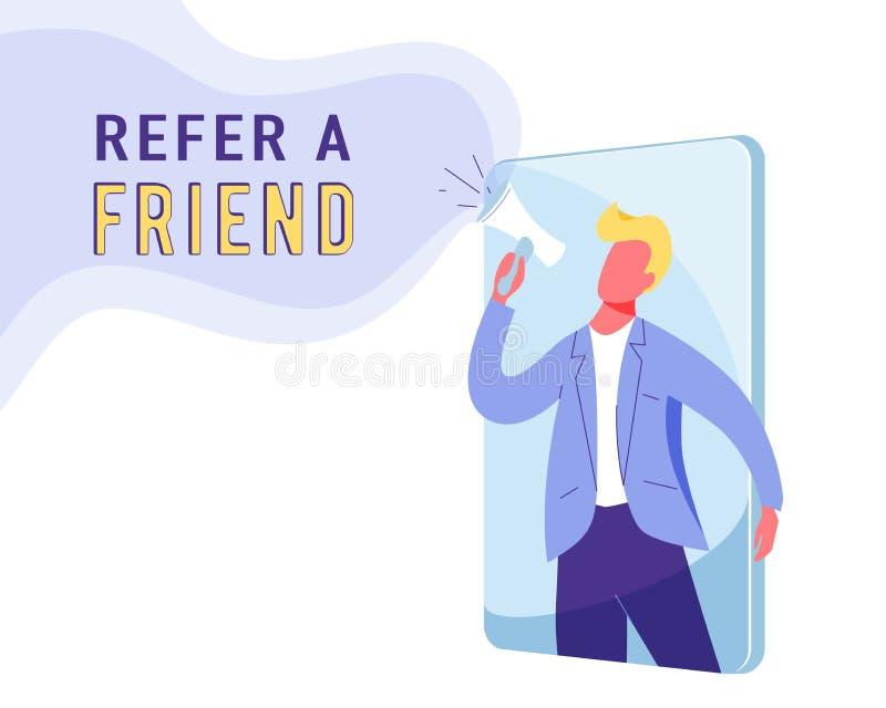 Verweisen Sie einen Freundmarketing-Vektorhintergrund Geschäftsmannruf am Megaphon über Loyalität, Förderung, Geschenke Internet stock abbildung