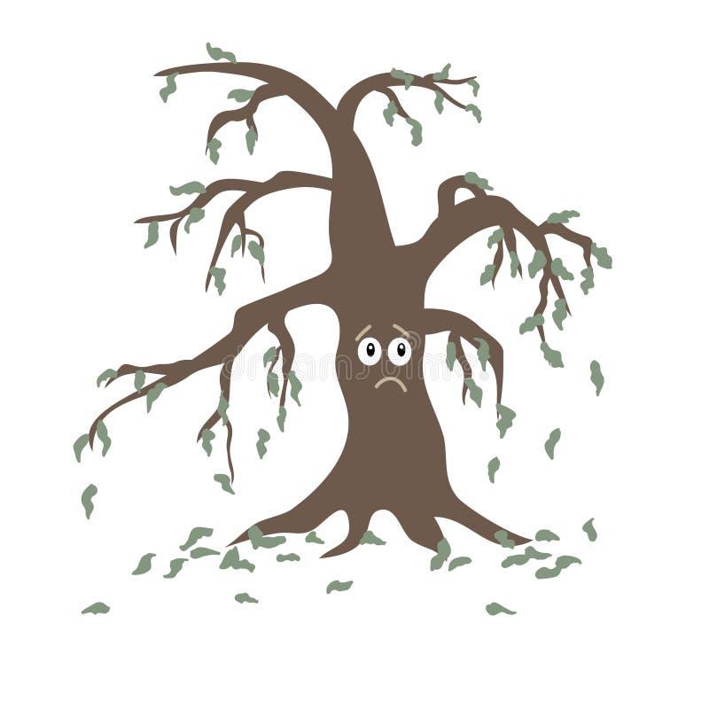 Verwelkter Baum mit laubwechselnden Blättern auf einem weißen Hintergrund ikone stock abbildung