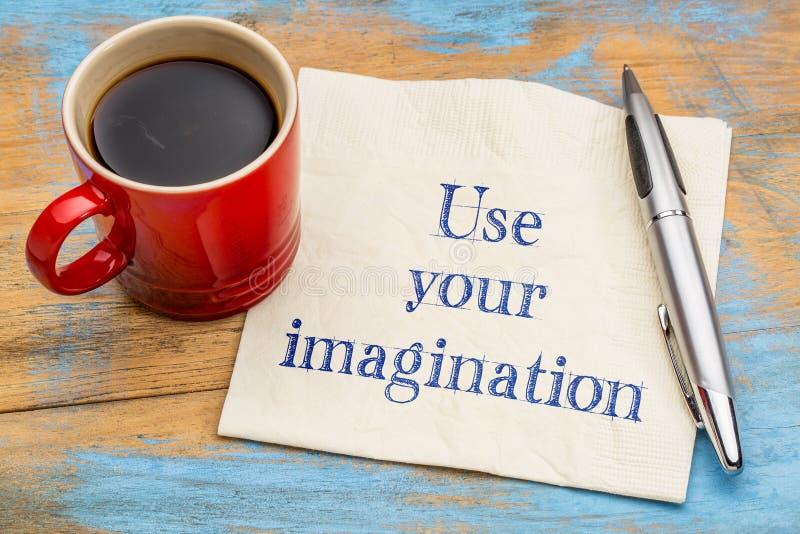 Verwenden Sie Ihre Fantasieanzeige oder -rat stockbild