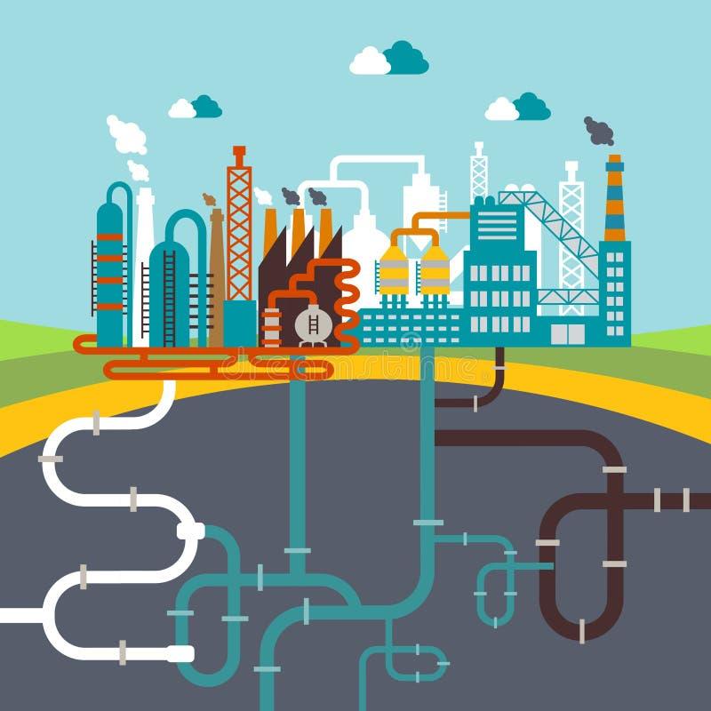 Verwerkende fabriek of raffinaderijinstallatie stock illustratie