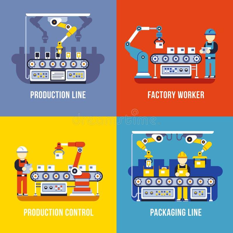 Verwerkende industrie, productielijn, de vector vlakke geplaatste concepten van de fabrieksarbeider vector illustratie