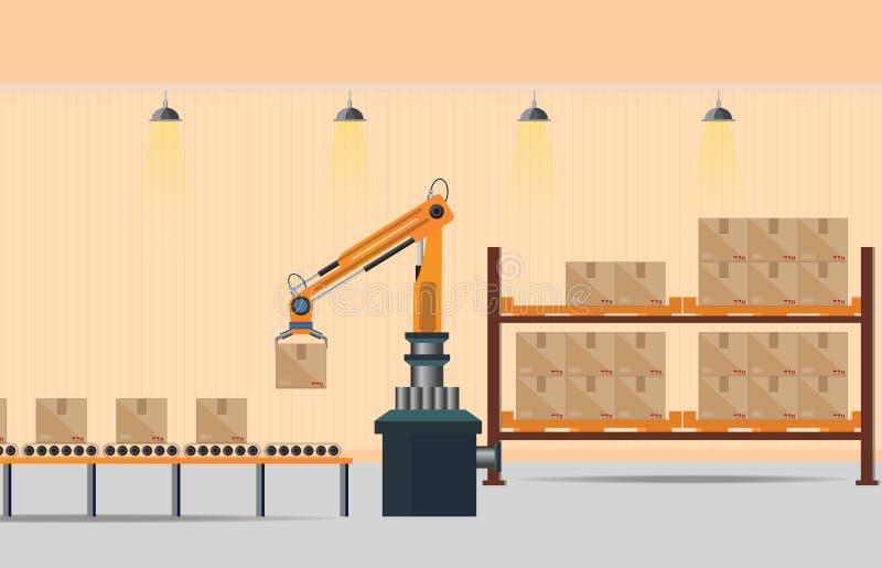 Verwerkende pakhuistransportband stock illustratie