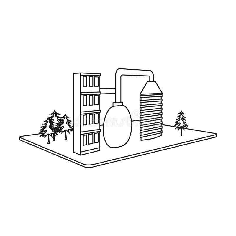 Verwerkingsfabriek Fabriek en de industrie enig pictogram in van de het symboolvoorraad van de overzichtsstijl isometrisch vector vector illustratie