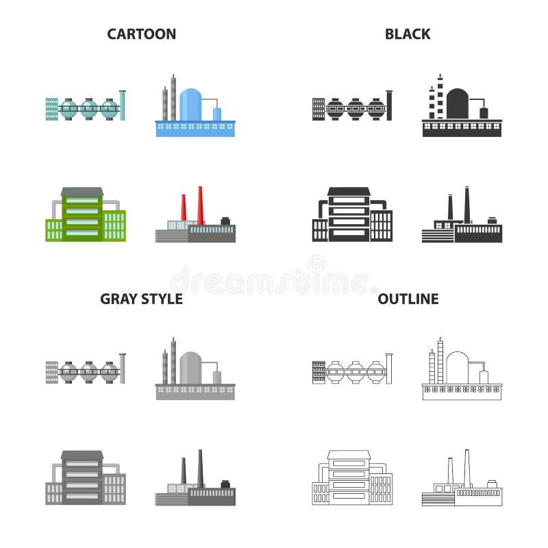 Verwerkingsinstallatie, industriële productiefaciliteiten Installatie en fabrieks vastgestelde inzamelingspictogrammen in beeldve vector illustratie