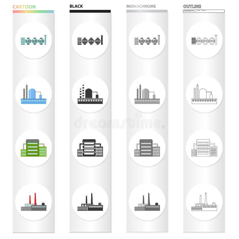 Verwerkingsinstallatie, industriële productiefaciliteiten Installatie en fabrieks vastgestelde inzamelingspictogrammen in beeldve stock illustratie
