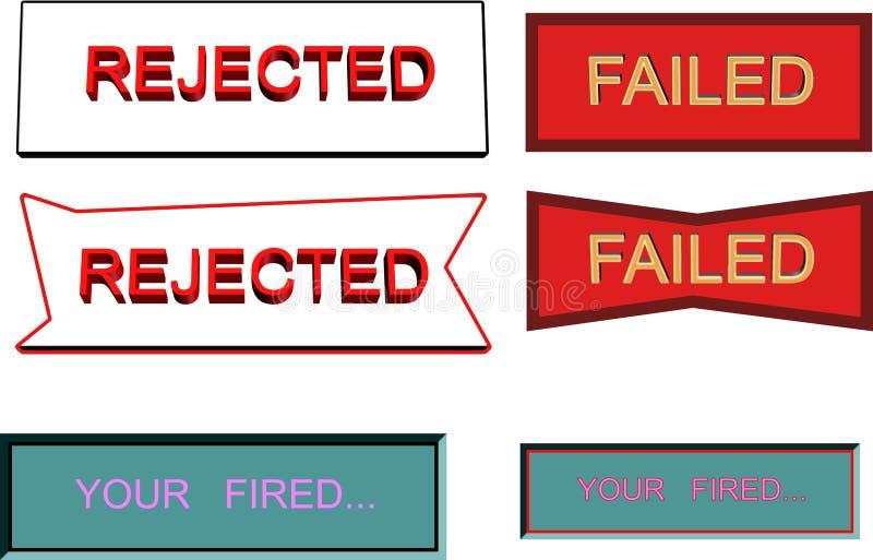 Verwerping ontbroken signage stock illustratie