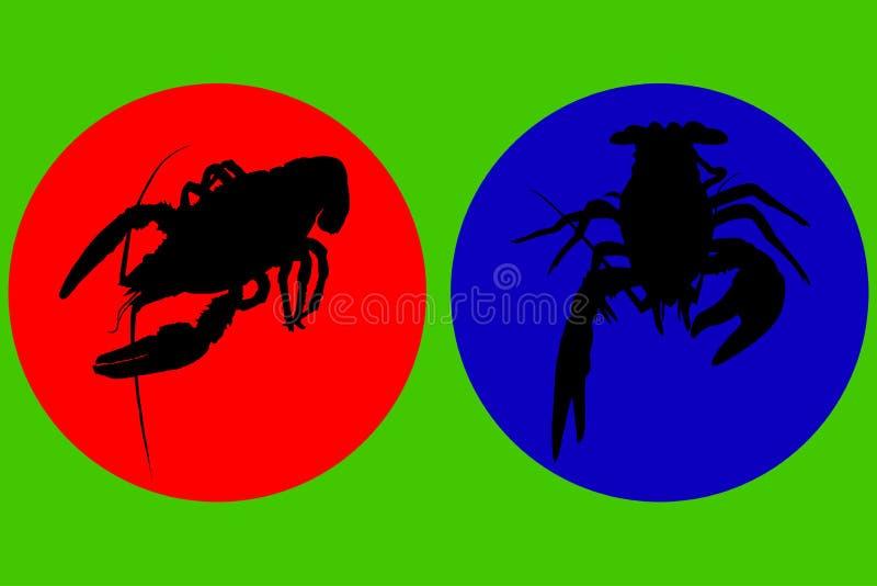 Verwerving voor het malplaatje Silhouetten van schaaldierenkanker, zeekreeft, zeekreeft Vector royalty-vrije illustratie