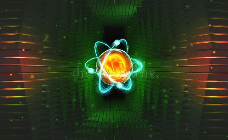 Verwezenlijking van kunstmatige intelligentie Experimenten met hadronic collider Onderzoek van de structuur van een atoom vector illustratie