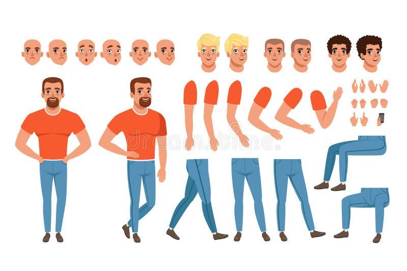Verwezenlijkingsreeks van de jonge mens, aannemer voor animatie Volledig lengtekarakter Lichaamsdelen, gezichtsemoties, kapsels e royalty-vrije illustratie