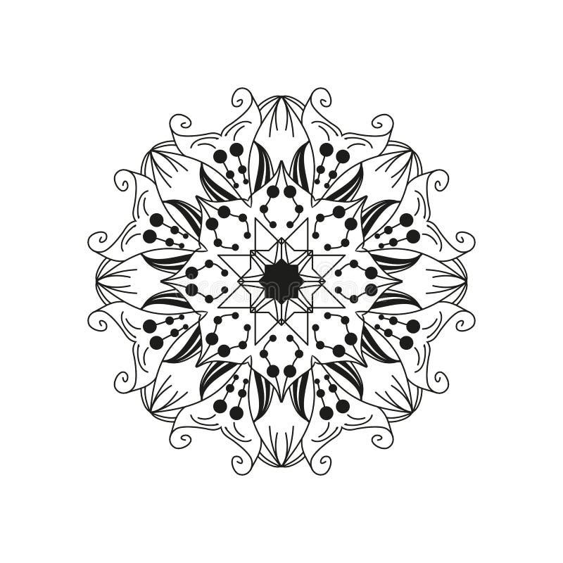 Verwickelte Blumenmandala Abstraktes rundes Webdesignelement lokalisiert auf weißem Hintergrund vektor abbildung