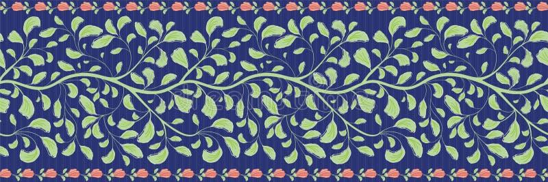 Verwickelte indische Blumengrenze mit grünen Blättern und korallenrotem Blumenrand Nahtloses Vektormuster auf gestreiftem dunkelb vektor abbildung