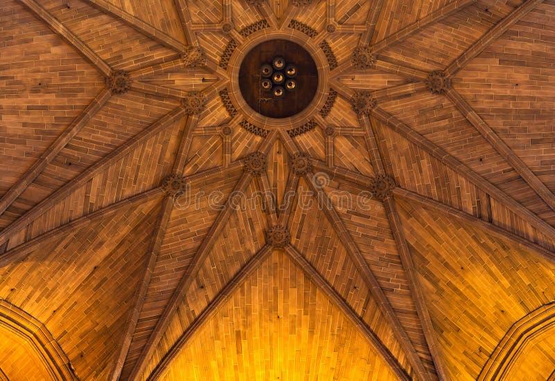 Verwickelte Sandsteindecke innerhalb der Kathedrale stockbild