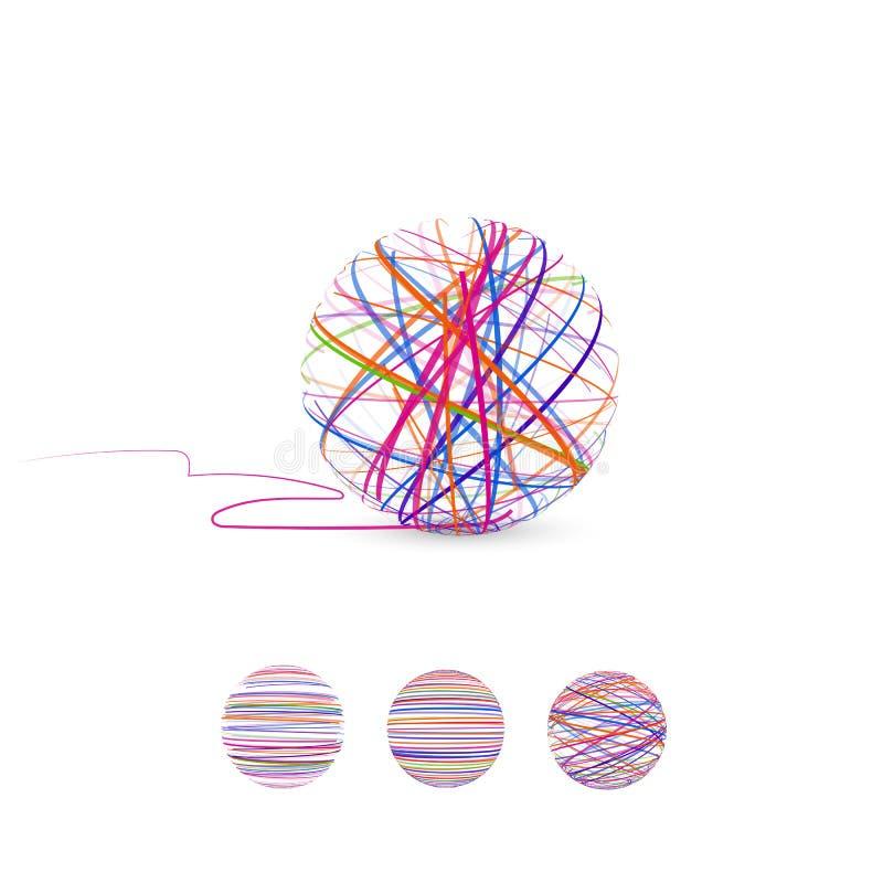 Verwicklungsvektorillustration Ball des Threads für das Stricken lizenzfreie abbildung
