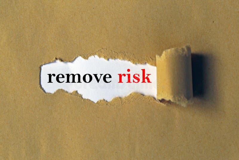 Verwijder risicorubriek stock afbeelding