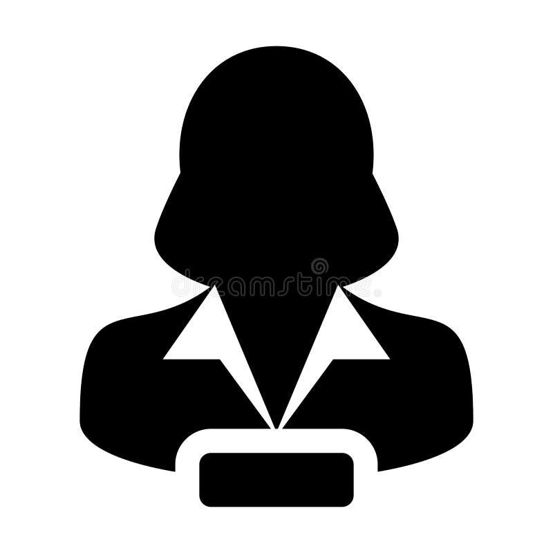 Verwijder van de de gebruikerspersoon van het Profielpictogram vector vrouwelijke het profielavatar met negatief symbool in vlak  stock illustratie