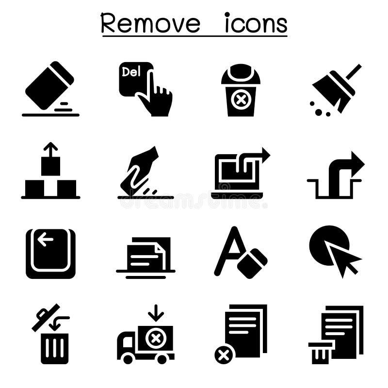Verwijder, wis, schrap pictogramreeks vector illustratie