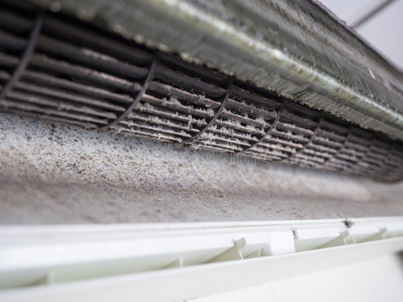 Verwijderde dekking van airconditioner en de Vuile ventilator van de eekhoornkooi stock afbeelding