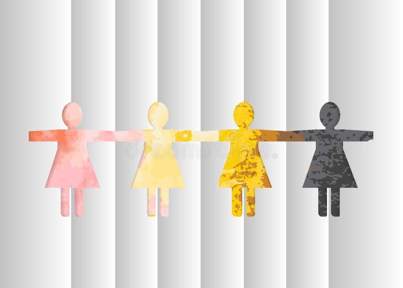 Verwijderde document silhouetten van vrouwen tegen een achtergrond van multicolored waterverfvlekken vector illustratie