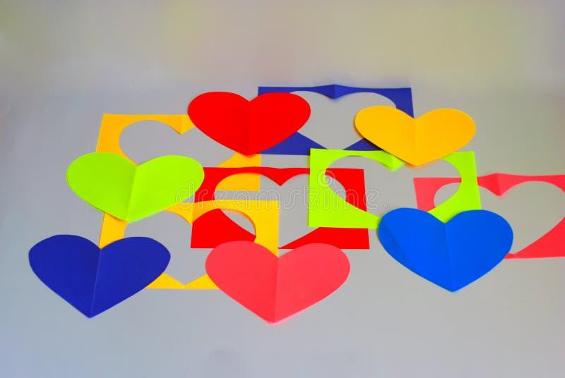 Verwijderde harten op wit stock foto