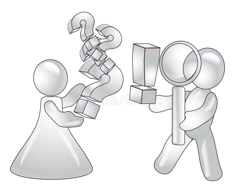 Verwijfde vragen en mannelijke antwoorden. Concept royalty-vrije illustratie