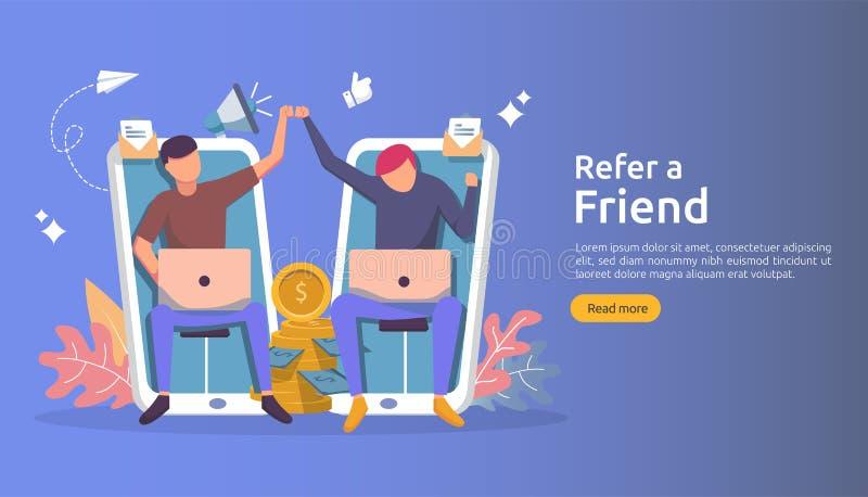 verwijs een vennootschap van het vriendenfiliaal en verdien geld marketing conceptenstrategie mensenkarakter die verwijzingszaken royalty-vrije illustratie