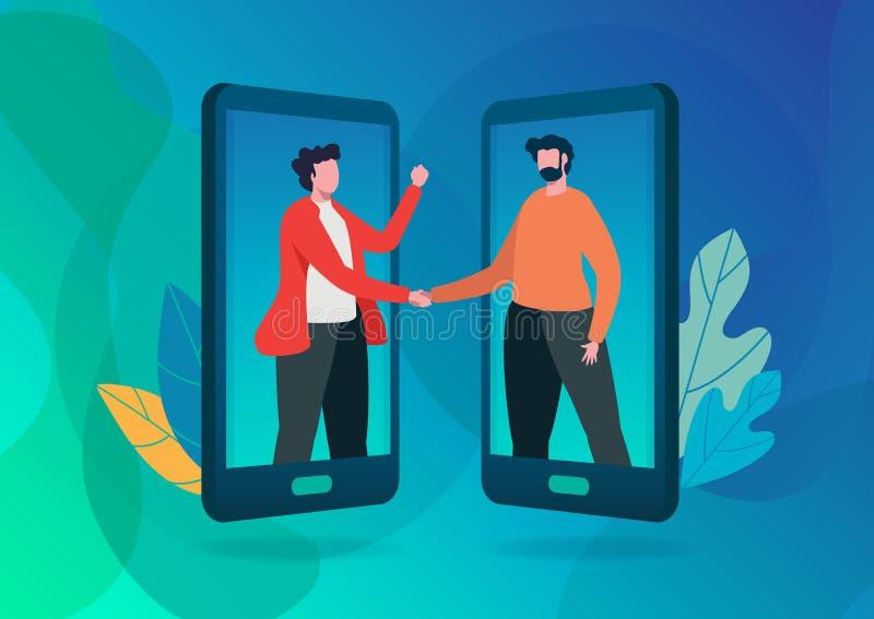 Verwijs een vrienden vectorillustratie Online mededeling Handdruk van bedrijfsmensen Online overeenkomst, Overeenkomst Vlak beeld vector illustratie