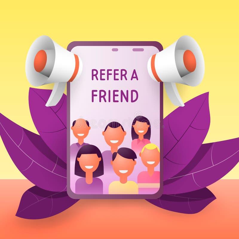 Verwijs een vriendenconcept E vector illustratie