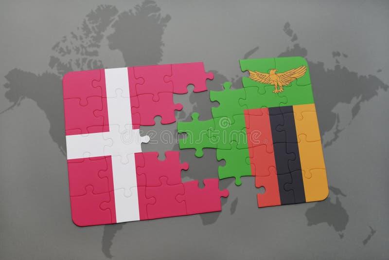 verwirren Sie mit der Staatsflagge von Dänemark und von Sambia auf einem Weltkartehintergrund vektor abbildung