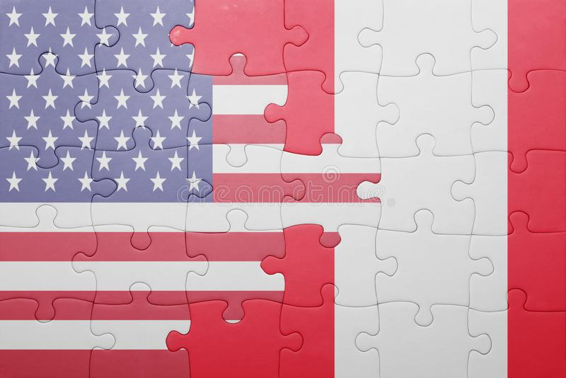 Verwirren Sie mit der Staatsflagge von Staaten von Amerika und von Peru stockfoto