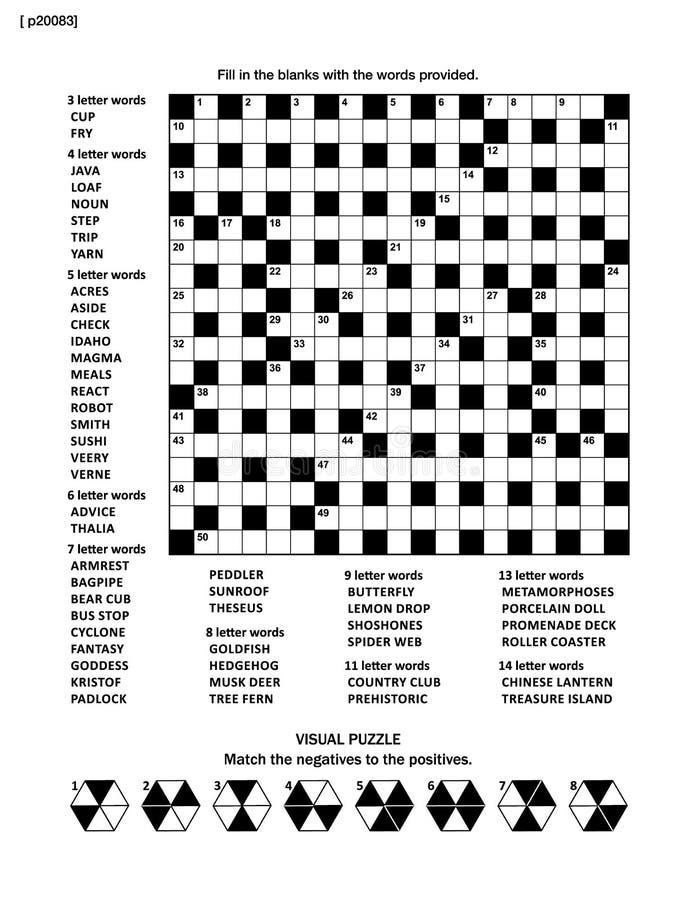 Verwirren Sie Seite mit Kreuzworträtselwortspiel und Bildrätsel stock abbildung