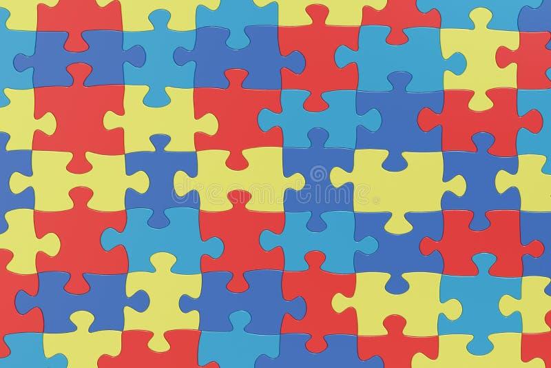 Verwirren Sie Stücke im Autismus-Bewusstseins-Farbhintergrund, renderin 3D stock abbildung