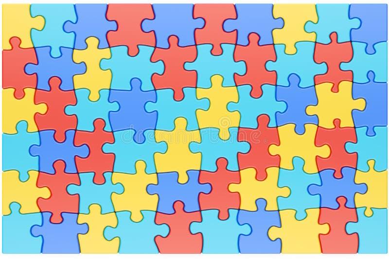 Verwirren Sie Stücke im Autismus-Bewusstseins-Farbhintergrund, renderin 3D vektor abbildung