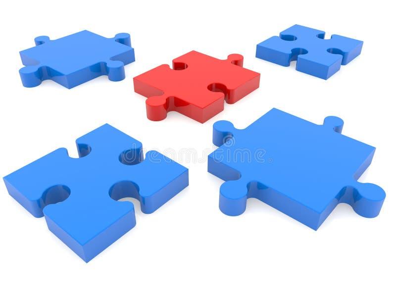 Verwirren Sie Stücke im Blau mit einem roten Vermissten zwischen stock abbildung