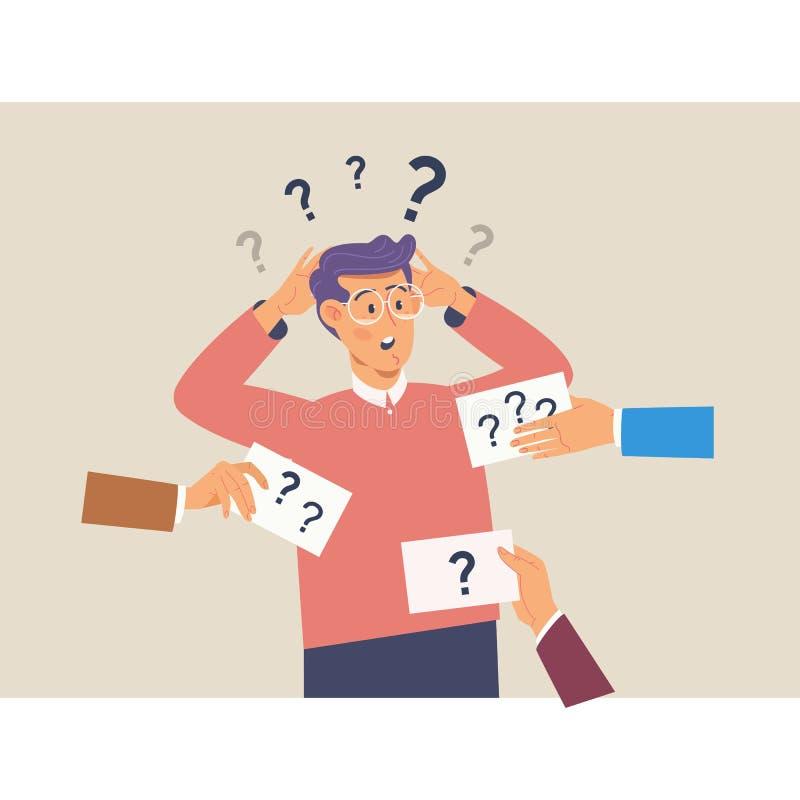 Verwirrender netter Mann mit Fragezeichen über seinem Kopf Flache Vektorillustration lizenzfreie abbildung