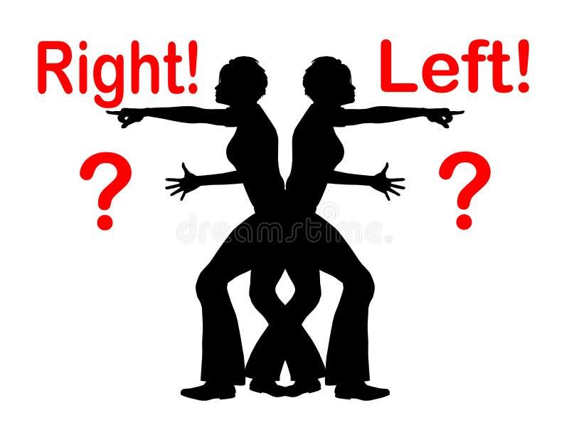 Verwirrendes rechtes und link vektor abbildung