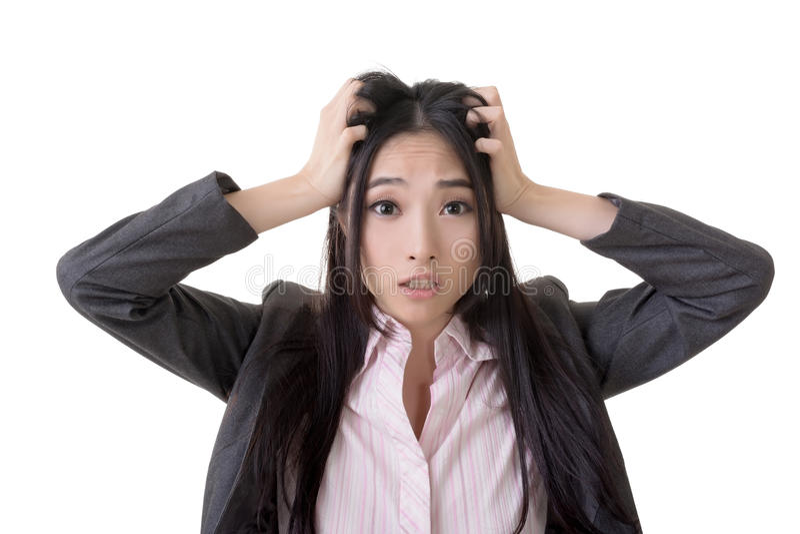 Verwirrte asiatische Geschäftsfrau lizenzfreies stockbild