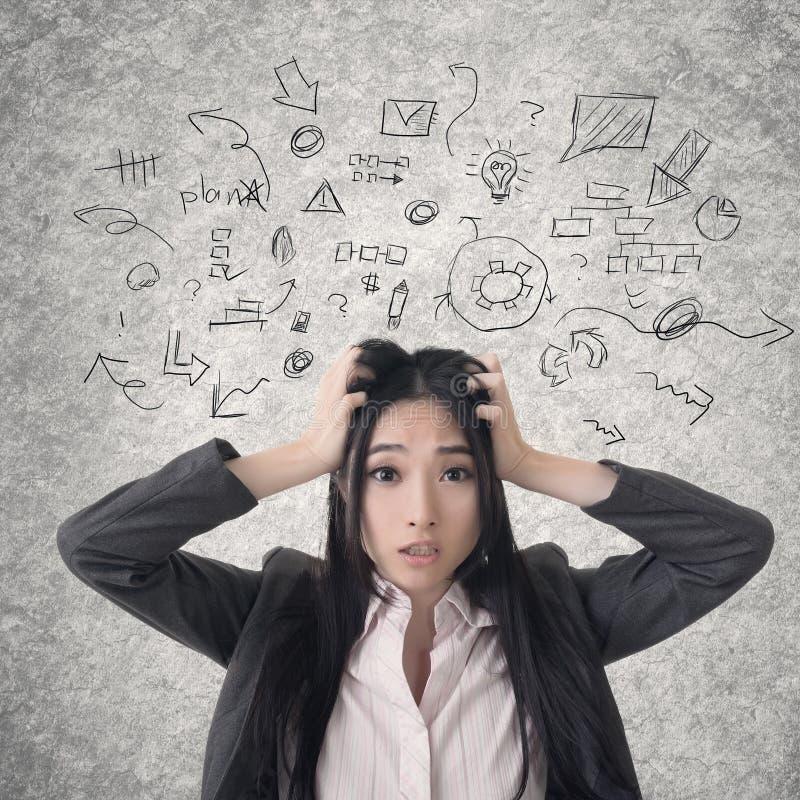 Verwirrte asiatische Geschäftsfrau stockfotos