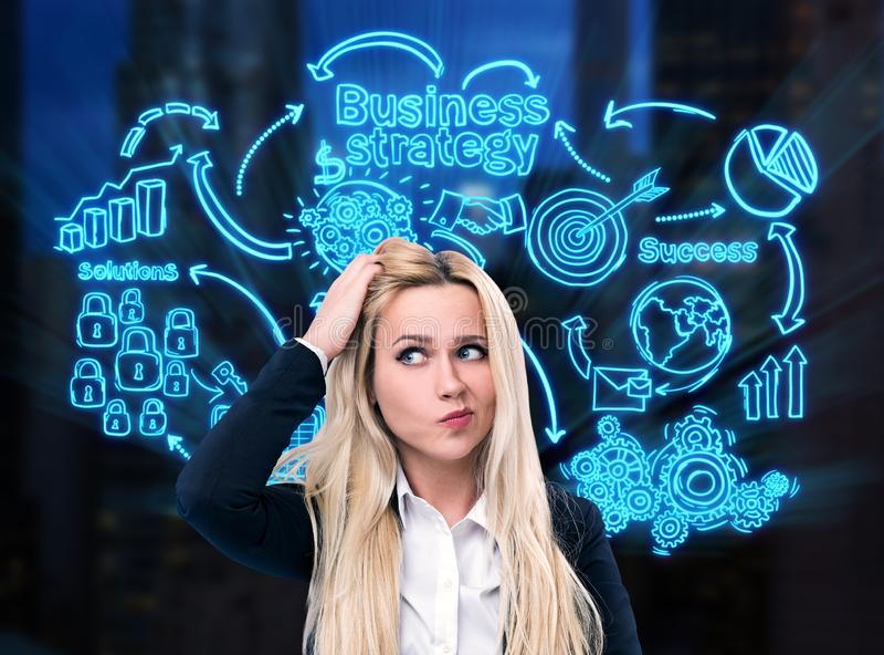 Verwirrte Blondine, Geschäftsstrategie lizenzfreie stockbilder