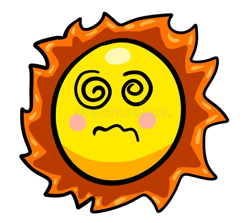 Verwirrte Karikatur Sun lizenzfreie abbildung