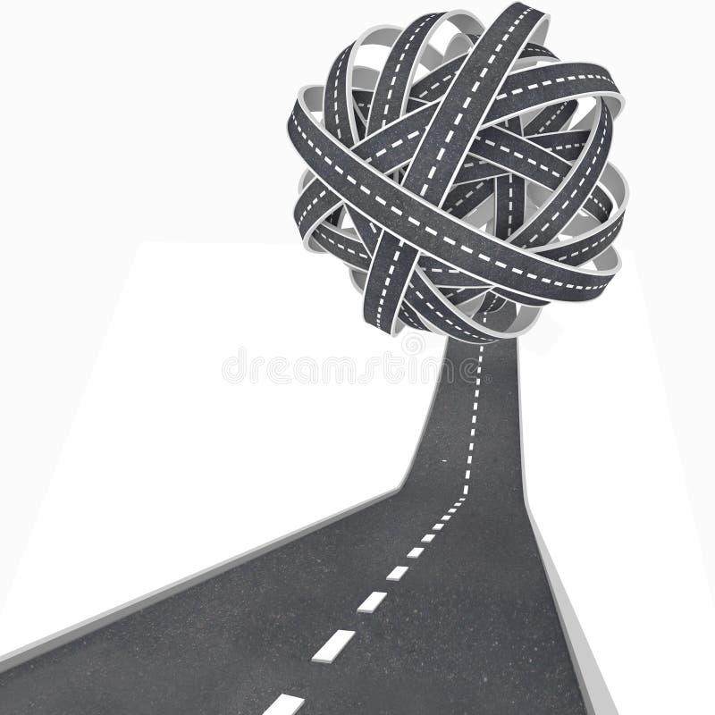 Verwirrte Kugel-Straßen-Ansammlung-Durcheinander-Reise stock abbildung