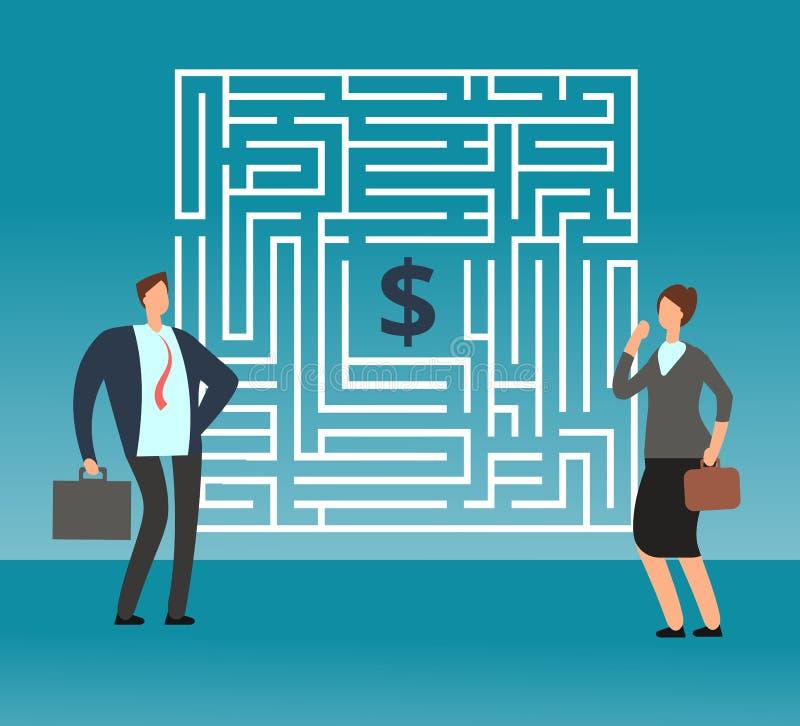 Verwirrter Geschäftsmann, der wie man heraus Labyrinth führt und Geld denkt, erhält Teamwork- und Karrierevektorkonzept stock abbildung