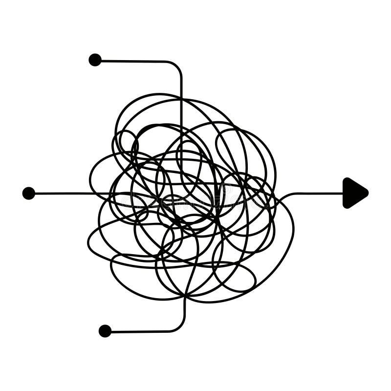 Verwirrter Prozess, Chaoslinie Symbol Einen Ausweg, Teamwork oder das Gedanklich lösen des Vektorkonzeptes finden lizenzfreie abbildung