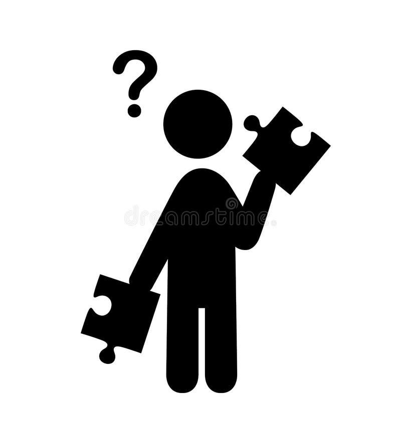 Verwirrungs-Mann mit Puzzlespiel-Leuten mit Frage Mark Flat Icons P vektor abbildung